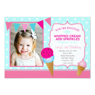 Ice Cream Party Pendants 5x7 Paper Invitation Card