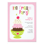 Ice Cream Party - Pink, Green and Brown Custom Announcements