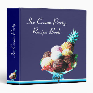ICE CREAM PARTY  RECIPE BOOK ,black blue red 3 Ring Binder