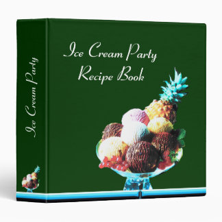 ICE CREAM PARTY  RECIPE BOOK blue red green 3 Ring Binder