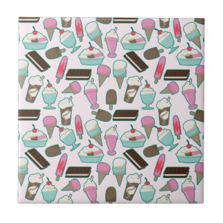 Ice cream pattern small square tile