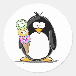 Ice Cream Penguin Round Stickers