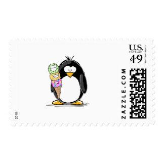Ice Cream Penguin Stamp