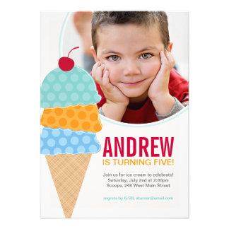 Ice Cream Photo Birthday Invitation in Aqua Announcements