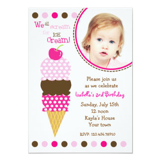 Ice Cream Photo Birthday Party Invitaitons 5x7 Paper Invitation Card