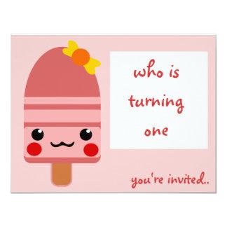 ice cream pink 4.25x5.5 paper invitation card