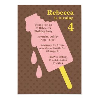 Ice Cream/Popsicle Birthday Party Flat Invitation
