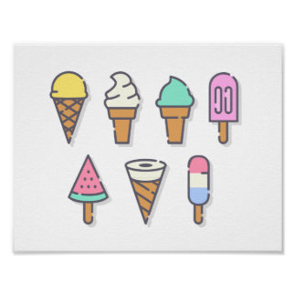 Ice-cream Poster - pick your own background color!