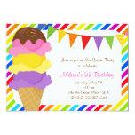 "Ice Cream Rainbow Birthday Party Invitation 5"" X 7"" Invitation Card"