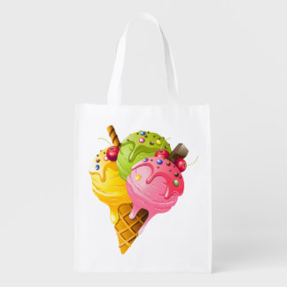 Ice Cream Reusable Grocery - Gift - Treat Bag Market Tote