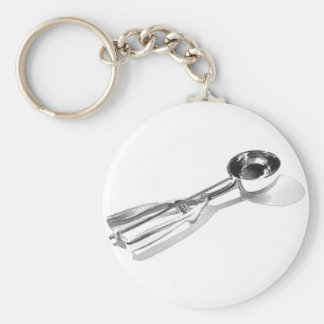 """""""Ice Cream Scoop"""" Kitechen Art Watercolor Basic Round Button Keychain"""