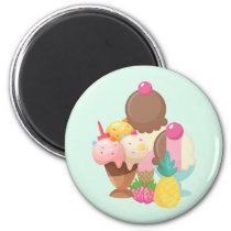 Ice Cream Scoops with Sprinkles Magnet