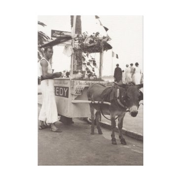 Beach Themed Ice cream seller in Cannes in 1930s Canvas Print
