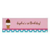 Ice Cream Shop Birthday Banner Sign Poster