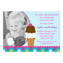 Ice Cream Shop Girls Birthday Invitations