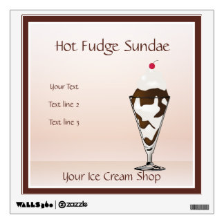 Ice Cream Shop Hot Fudge Sundae Wall Decal