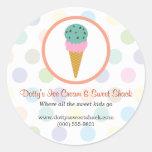 Ice Cream Shop Round Stickers