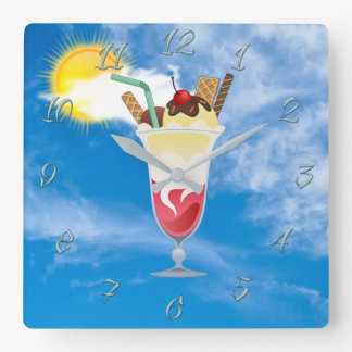 Ice-cream shop square wall clock