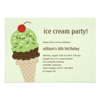 Ice Cream Shoppe Birthday Invitation - Green Invite