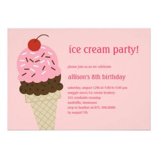 Ice Cream Shoppe Birthday Invitation - Pink Personalized Invite