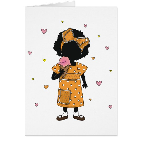 Ice Cream Sister w/ Hearts Note Card