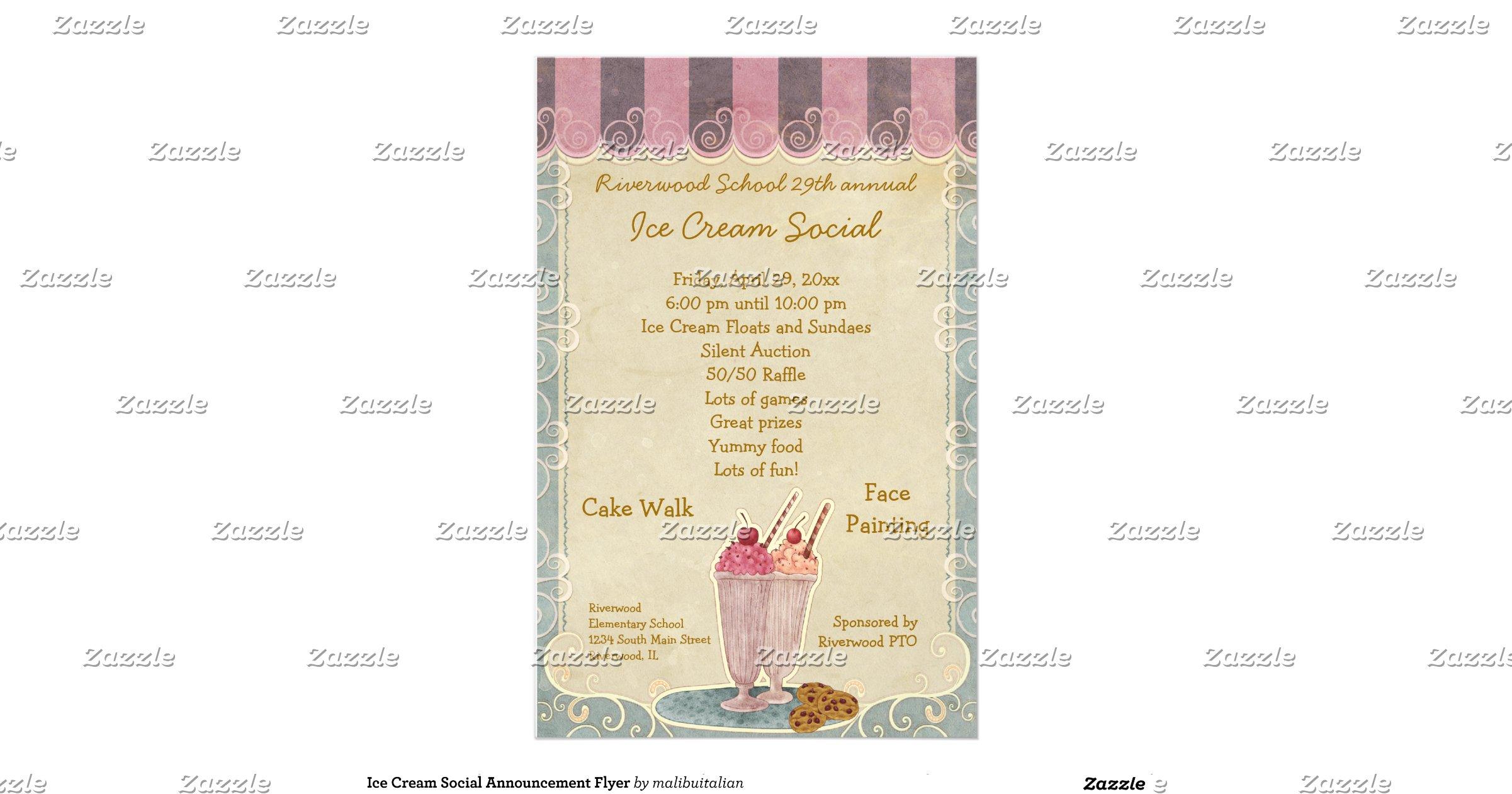 ice cream social announcement flyer