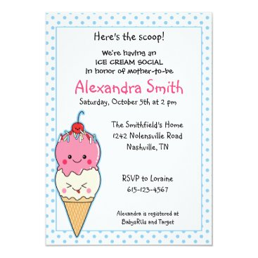Toddler & Baby themed Ice Cream Social Baby Shower Card