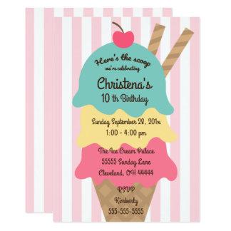 Ice Cream Social Birthday Party Invitation