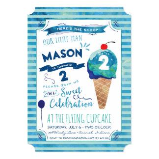 Ice Cream Social Birthday Party Invitations - Boy