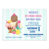 Ice Cream Social Birthday Party Invite