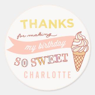 ICE CREAM SOCIAL birthday party thank you sticker
