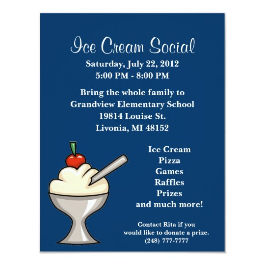 ice cream social flyer invitation. Black Bedroom Furniture Sets. Home Design Ideas