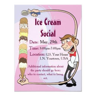 """Ice Cream Social Invitation 4.25"""" X 5.5"""" Invitation Card"""