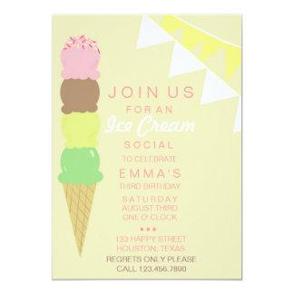 Ice Cream Social Party Invitation