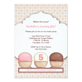 Ice Cream Social Party Invite with age