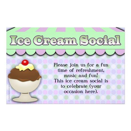 Ice Cream Social, Purple/Green Stripe Sundae Flyer ...