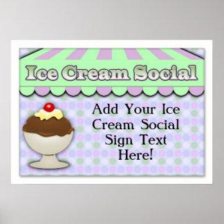 Ice Cream Social, Purple/Green Stripe Sundae Poster