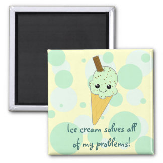 Ice cream solves all of my problems Kawaii Cartoon 2 Inch Square Magnet