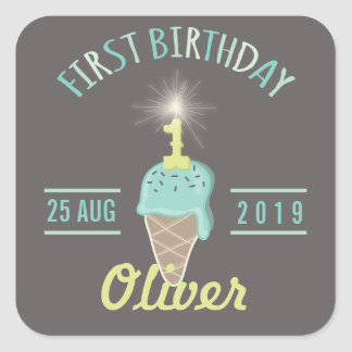 Ice Cream Sparkler 1st Birthday Party Gift Tag Square Stickers