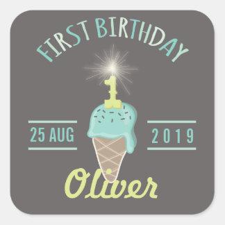 Ice Cream Sparkler 1st Birthday Party Gift Tag Square Sticker