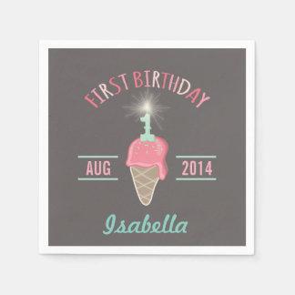 Ice Cream Sparkler 1st Birthday Party Paper Napkin