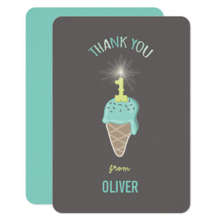 Ice Cream Sparkler Boy 1st Birthday Thank You Card