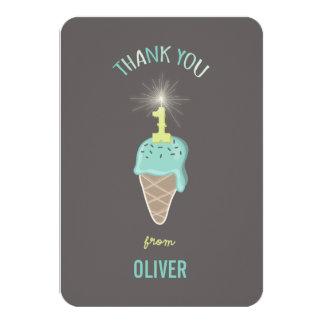 Ice Cream Sparkler Boy 1st Birthday Thank You 3.5x5 Paper Invitation Card