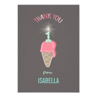 Ice Cream Sparkler Girl 1st Birthday Thank You Announcement