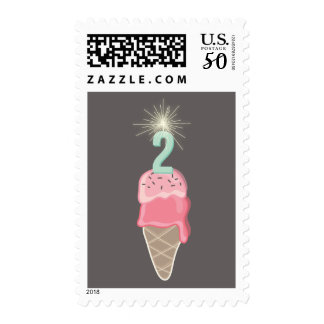 Ice Cream Sparkler Girl 2nd Birthday Party Stamps