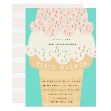 Toddler & Baby themed Ice Cream & Sprinkles Baby Shower Invitation