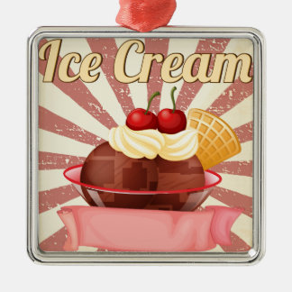Ice cream square metal christmas ornament