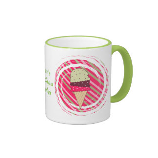 Ice Cream Strawberry Swirl Ringer Coffee Mug