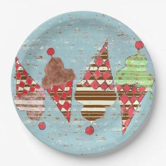 Ice Cream Stripe Cones Paper Plate
