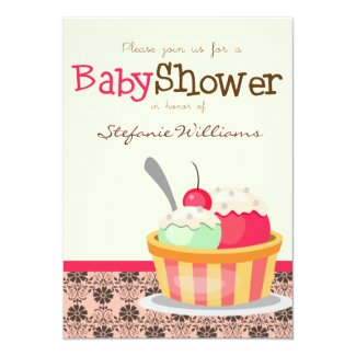Ice Cream Sundae Baby Shower Invitation